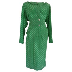 Valentino Miss V Green white pois Dress