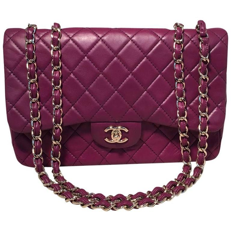Chanel Purple Leather Jumbo Classic Flap Shoulder Bag 1