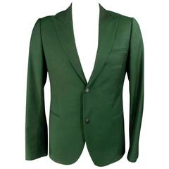 RAF SIMONS Spring 2013 40 Short Green Wool / Mohair Peak Lapel Snap Sport Coat