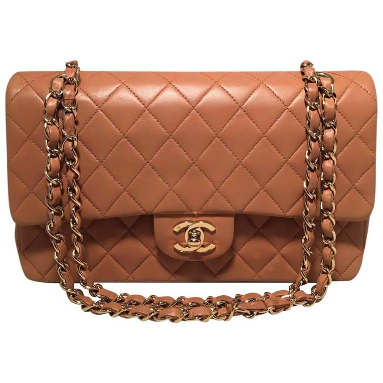 9684a3fb78f9 Chanel Camel Leather 2.55 10inch Double Flap Classic Shoulder Bag For Sale