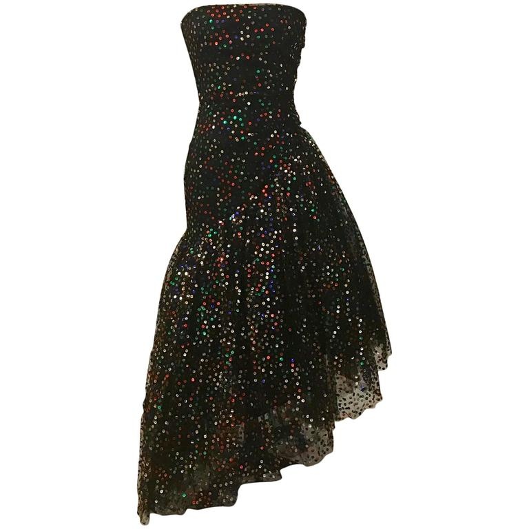Scaasi Boutique for Bergdorf Goodman Black Strapless Sequin Tulle Gown, 1980s  For Sale