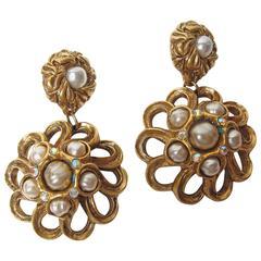 Claire Deve 1980s Ornate Faux Pearl Oversized Chandelier Earrings