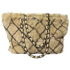 Chanel Rabbit Fur Windowpane Tote Bag - sale