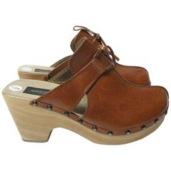 Dolce & Gabbana Leather and Wooden Clogs