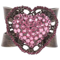 Knock out rhinestone heart cuff by Lawrence Vrba N.Y.C