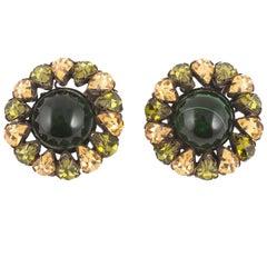 Multi coloured earrings, att. Schreiner of New York, USA, 1960s