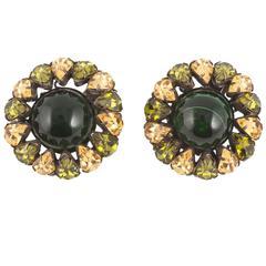 Multi coloured earrings, att. Schreiner of New York, 1960s