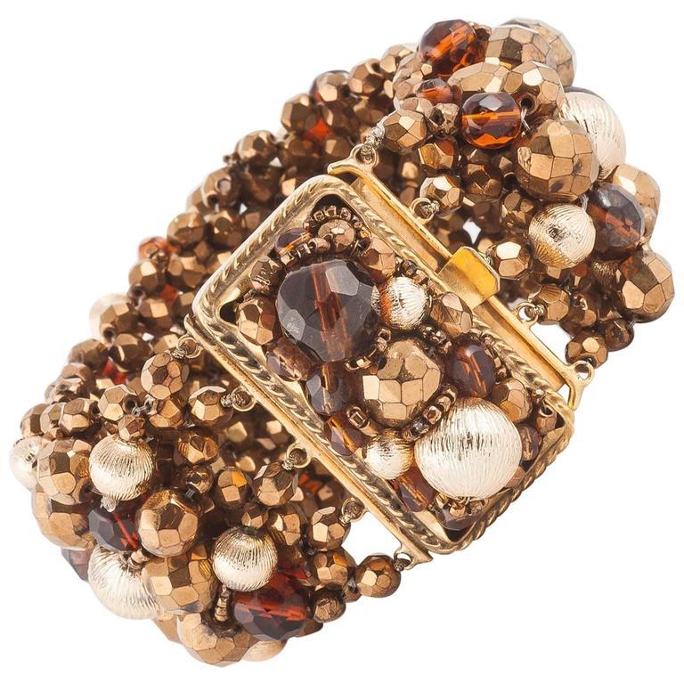 Wide beaded bracelet by Coppola e Toppo, 1960s For Sale