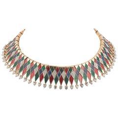 """Marcel Boucher gilt and enamel """"harlequin"""" necklace, 1960s"""