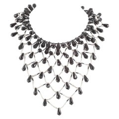 Dramatic black and clear bead bib necklace, attributed to Langani,Germany,1960s