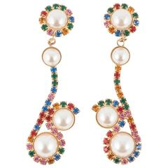 Vibrant multi coloured long drop earrings, 1980s