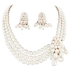Louis Rousselet three row baroque pearl necklace, with matching earrings, 1950s