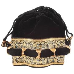 Velvet and stamped leather evening bag, 1940s