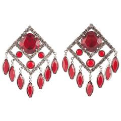 Les Bernard paste and red glass square earrings, 1980s