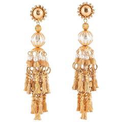 Striking gilt and pearl 'tassle' earrings, William de Lillo, 1970s