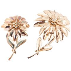 A striking pair of gilt Austrian 'flower' brooches, 1950s