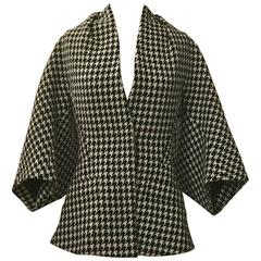 Alexander McQueen 2009 Black and White Houndstooth Kimono Wool Tweed Jacket