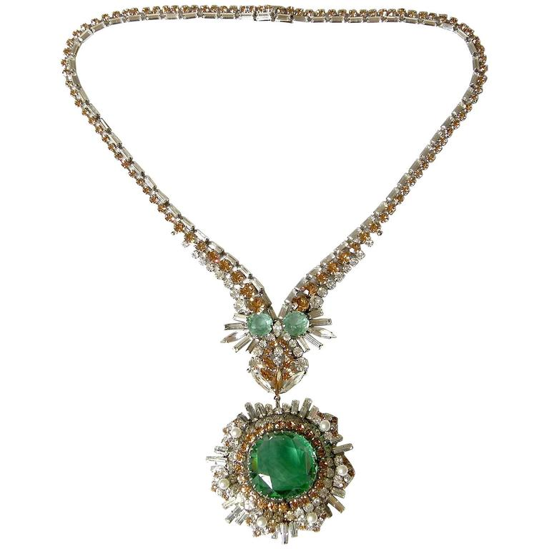 West German Rhinestone Necklace For Sale