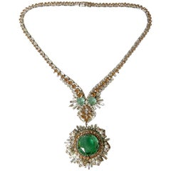 West German Rhinestone Necklace with Faux Emeralds Diamonds and Citrines