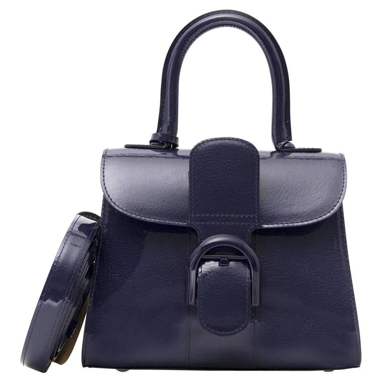 Brand New Delvaux Brillant Mini Vernis Indigo For