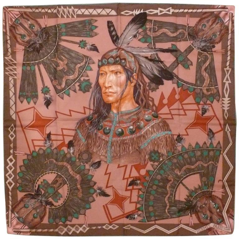 "Hermes Silk Carre Scarf ""Cosmogonie Apache"" by Antoine Tzapoff"