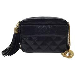 Chanel Rare Vintage Black Lizard Multi Gold Chain Camera Evening Shoulder Bag