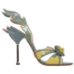 Prada Patent Leather Jewel Toe Tail Light Flame Sandals, Spring - Summer 2012