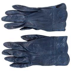 Chanel Navy Leather CC Logo Gloves sz 7.75