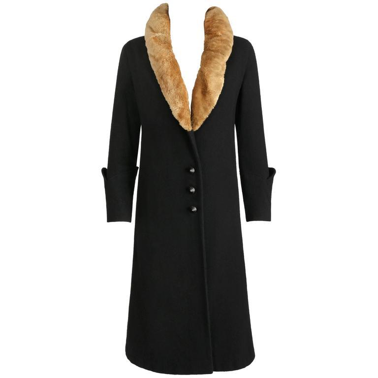 MILLER c.1910s Edwardian Black Wool Sheared Beaver Fur Art Deco Embroidered Coat For Sale