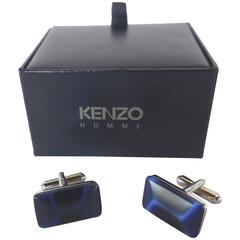 Kenzo Rectangular Cushion Form Faux Blue Tiger-eye Stone Cufflinks