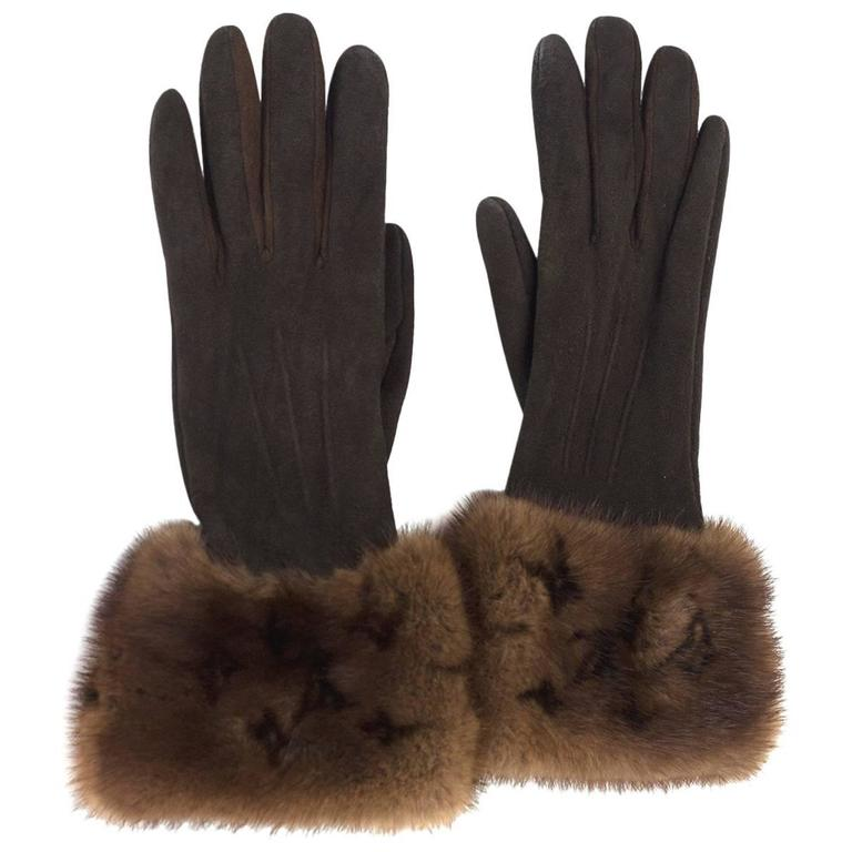 Louis Vuitton Brown Suede & Monogram Mink Fur Gloves sz S 1