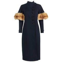 COUTURE 1930's WWII Era Navy Blue Asymmetrical Wool Coat Genuine Fox Fur Trim