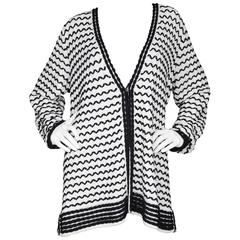 St. John Black & White Knit Cardigan sz XL NWT rt. $695