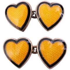 Heart Cufflinks Yellow Enamel Sterling Silver