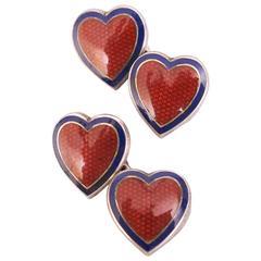 Red Enamel on Sterling Silver Heart Cufflinks