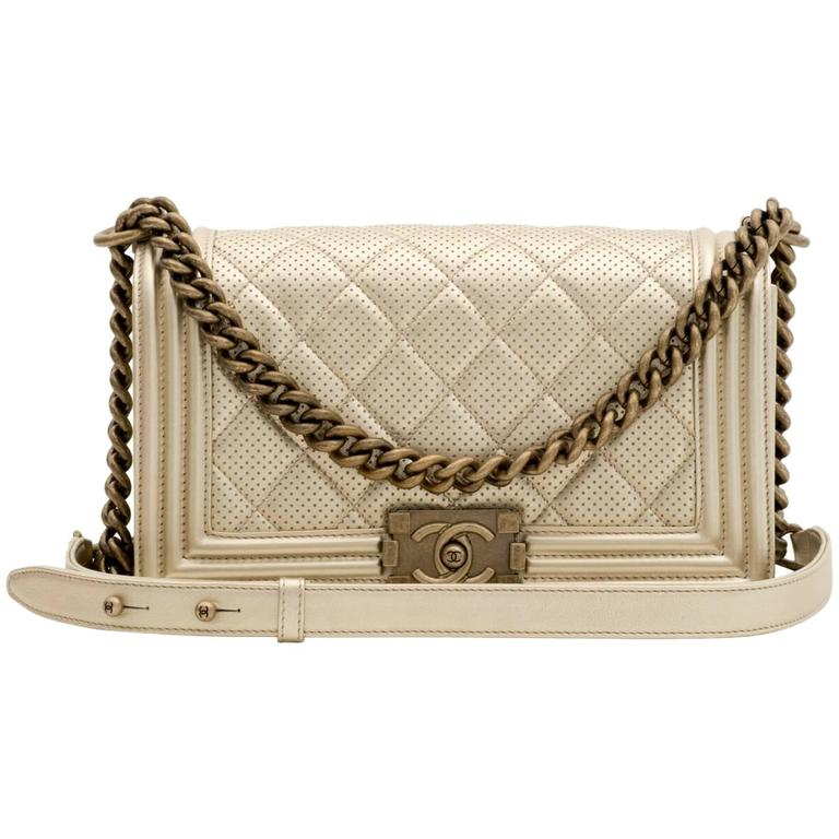 Chanel Perforated Quilted Leather Gold For Sale