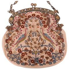 Italian Needlework Bag Gold Washed Sterling Silver  with Citrines and Pearls
