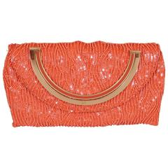 Carolina Herrera Coral Beaded Evening Bag
