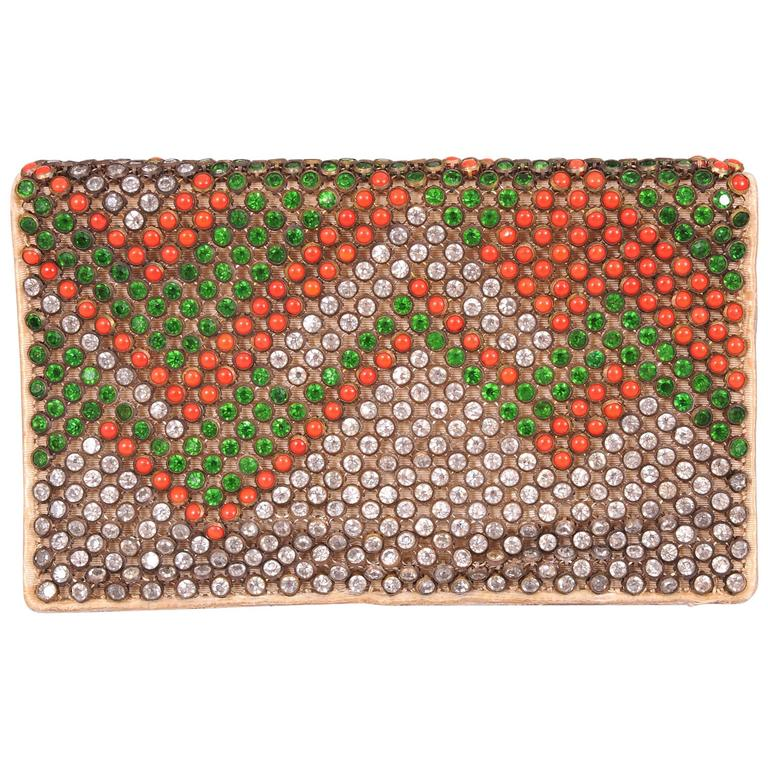 1920's French Art Deco Crystal and Coral Clutch Bag