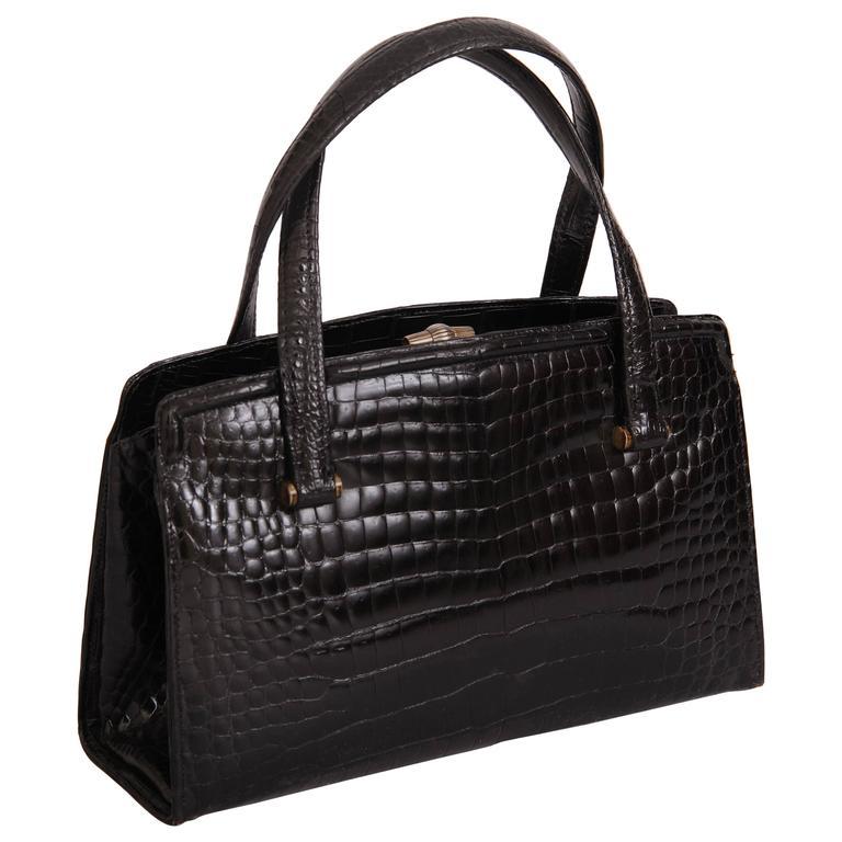 Gucci Vintage Black Crocodile Handbag