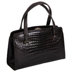 Gucci Vintage Black Crocodile Handbag