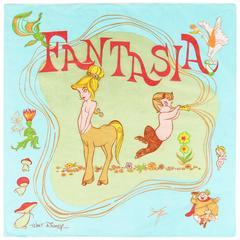 "WALT DISNEY c.1940 ""Fantasia"" Topless Centaur Character Print Silk Chiffon Scarf"