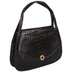 Lucille de Paris Oversized Black Alligator Handbag
