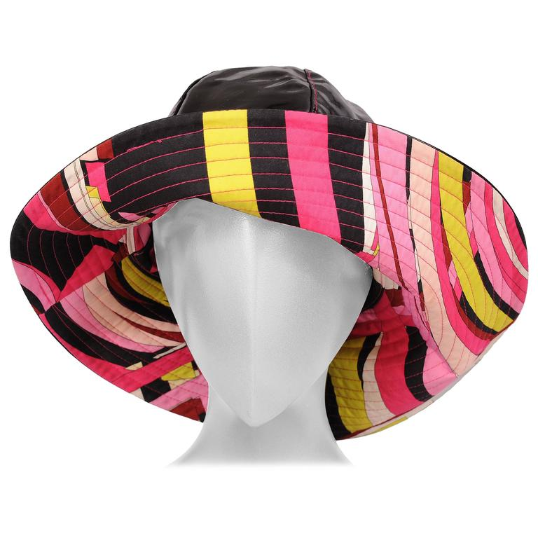 Pucci Shiny Black Rain Hat Colorful Cotton Print Lining