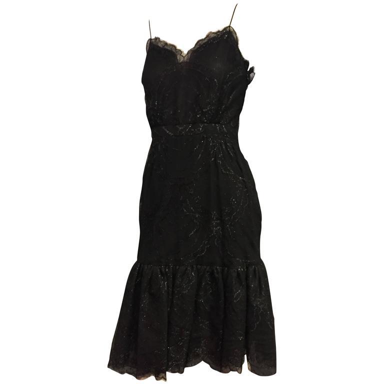Bill Blass Black Silk Lace Slip-Style Cocktail Dress w Gathered Net Flounce Hem