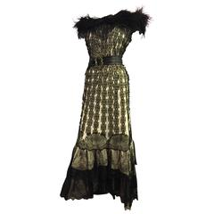 1950s Hand-Made Flamenco-Inspired Gown Made From Victorian Lace Shawl
