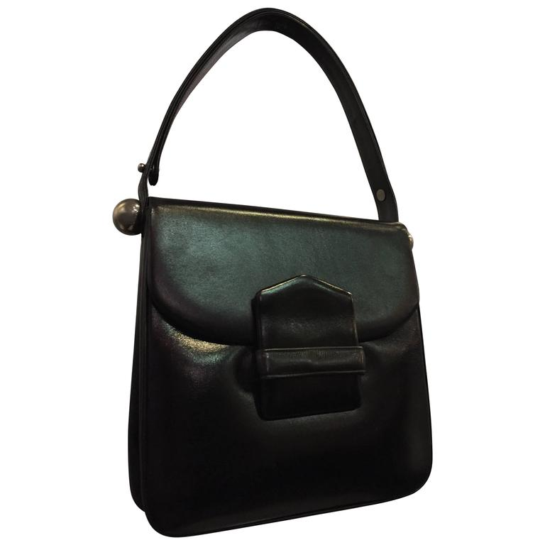 1960s Mod Saks Fifth Avenue Black Calf Skin Shoulder Bag w Chrome Ball Detail