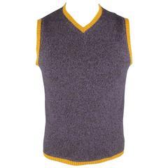 Men's ETRO Size M Purple & Gold Heather Merino Wool V Neck Sweater Vest
