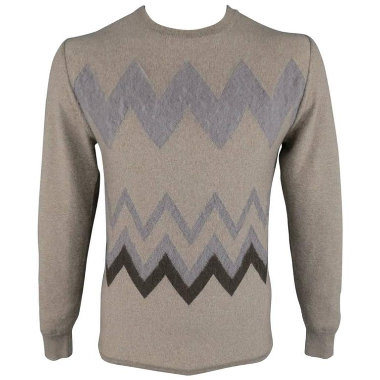 Men's VIKTOR & ROLF Size M Taupe Knit Textured Zig Zag Wool / Mohair Pullover