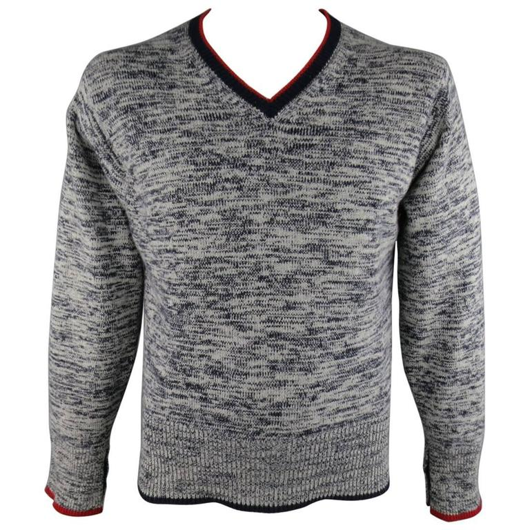 BLACK FLEECE Size L Grey and Navy Heather Cashmere Red ...